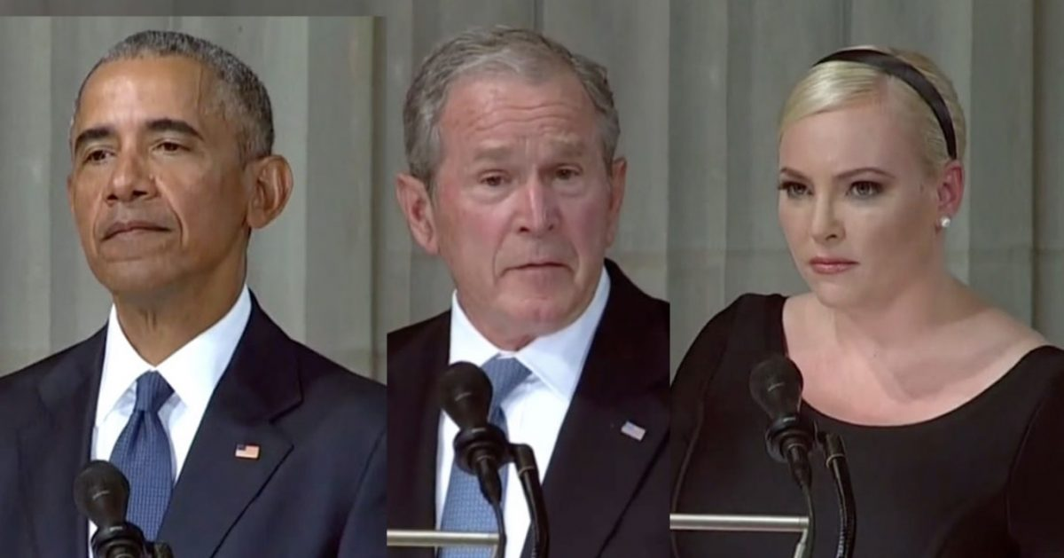 WATCH: Obama, Bush, Meghan McCain Swipe at Trump During John McCain Funeral Service